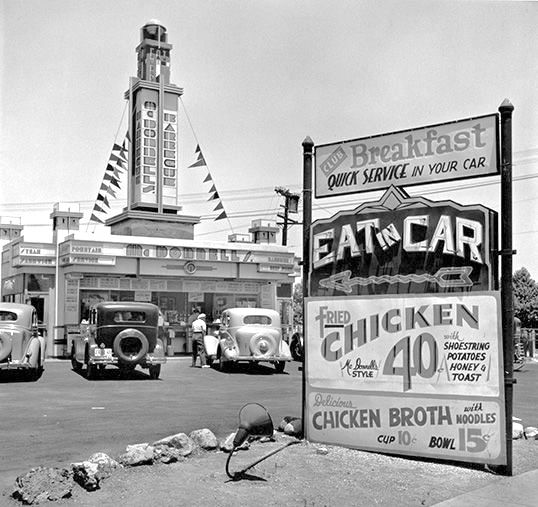 McDonnell's Eat-in-Car drive-in restaurant, 301 N. La Brea Blvd, Los Angeles, 1935