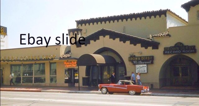 Brown Derby Hollywood in color with 1956 Thunderbird