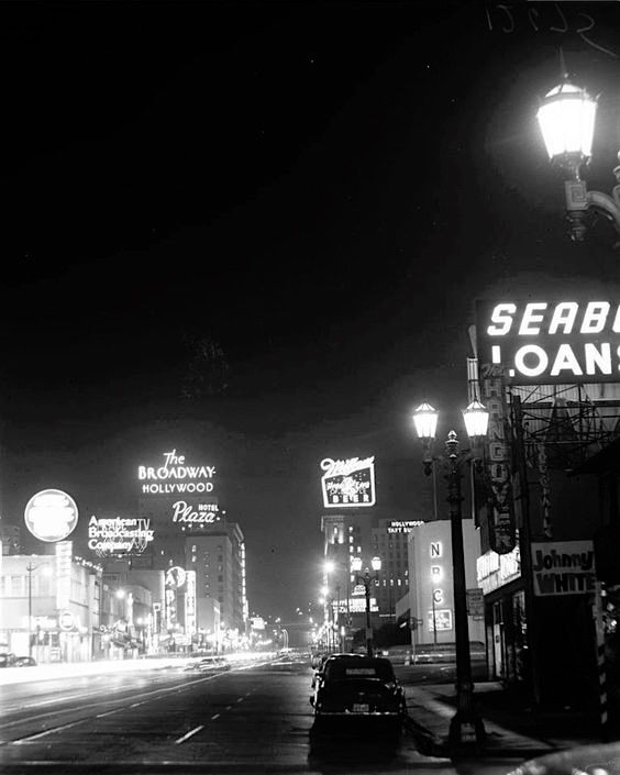 Corner of Sunset and Vine at night, circa 1957