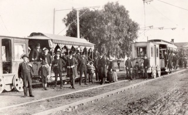 First Electric Car Line in Los Angeles, circa 1887