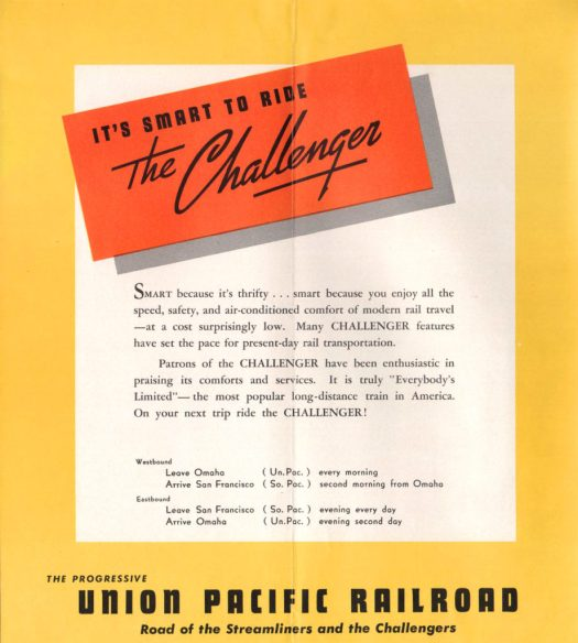 It's smart to ride the Union Pacific Challenger advertisement