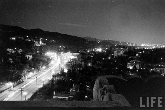 Sunset Strip at night, Los Angeles, circa 1930s
