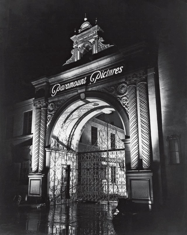 Paramount Pictures gate at night