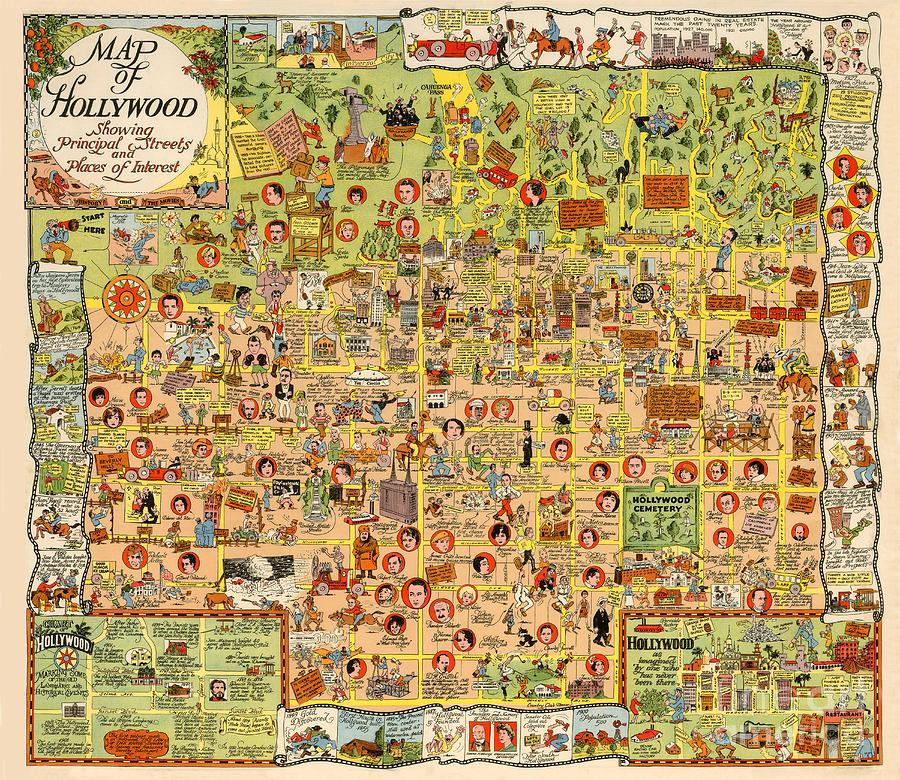 Map of Hollywood California 1928