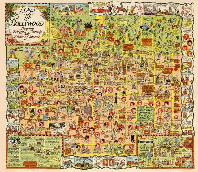 Map of Hollywood, California, 1928