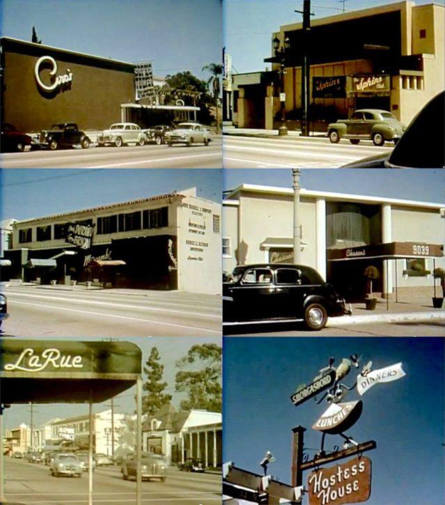 Sunset Blvd Restaurants, Los Angeles - Ciro's - Sphinx Club - Mocambo Chasens - La Rue - Hostess House