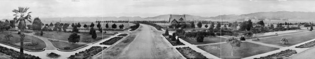 View of Beverly Gardens Park at the corner of Beverly and Santa Monica, 1920