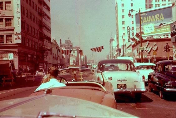 Traffic jam at Hollywood and Vine, 1956