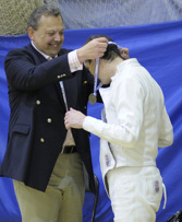 Receiving the gold medal