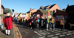 """No fire cuts"" protest in Bidford on Avon, 7 November 09"