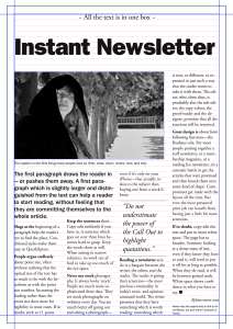 The one page newsletter with margins, boxes and grids. Note that this newsletter is set to 'vertically justify', which means that the line grids are not in use.
