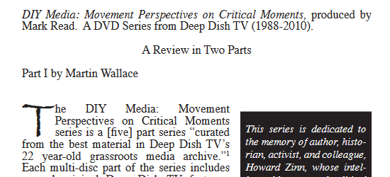 """Review of """"DIY Media: Movement Perspectives on Critical Moments"""""""
