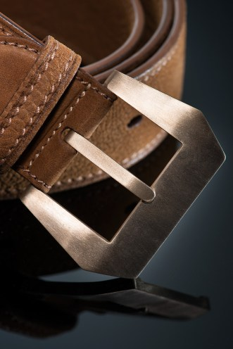 Men's buffalo belt with brushed bronze Panerai style buckle