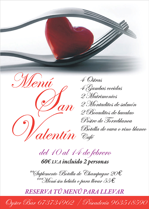 menu San Valentin