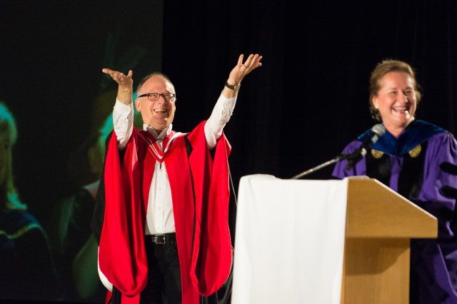 Tom Tiedje, dean of UVic engineering, acknowledges the crowd.