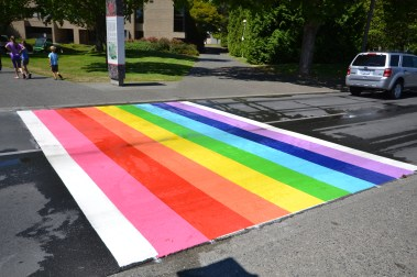 The rainbow crosswalk was officially opened on July 2. (Photo by Calum MacConnell)
