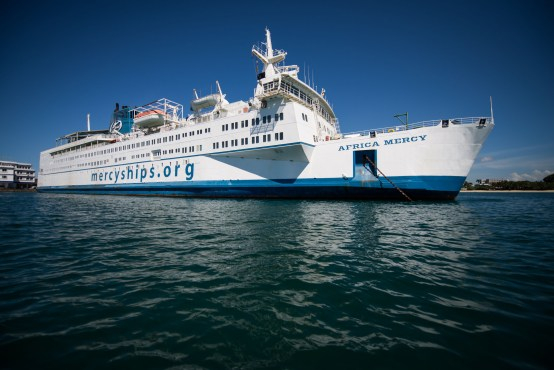 The largest ship of its kind, the Africa Mercy is currently docked in Tamatave, Madagascar. Photo provided by Mercy Ships Canada.