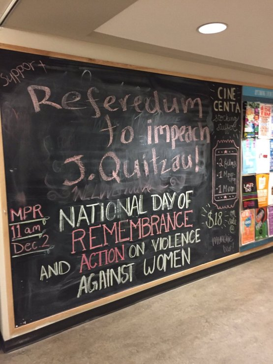 This chalkboard message calling for Jordan Quitzau's impeachment captured the overwhelming sentiment of many who attended last night's board meeting. Photo by Brydon Kramer, Photo Contributor