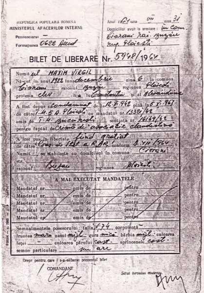 Virgil Maxim - Biletul_de_eliberare_din_inchisoare_in_1964