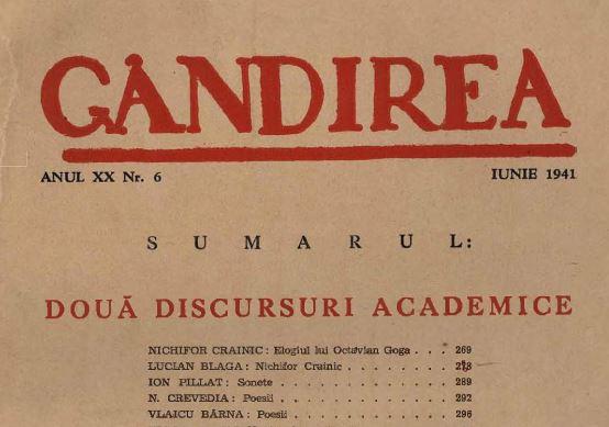 Gandirea - Crainic - Academia Romana - Goga - Blaga - Marturisitorii Ro