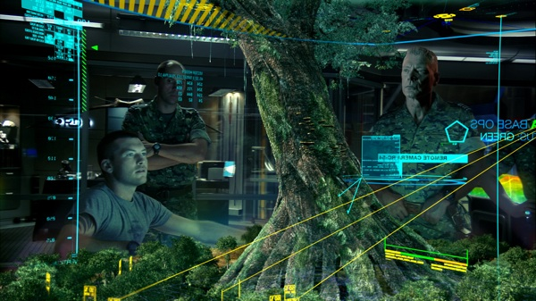 Scully (Worthington) and Quaritch (Lang) takes a look at a schematic of the Na'vi Hometree  Image: 20th Century Fox