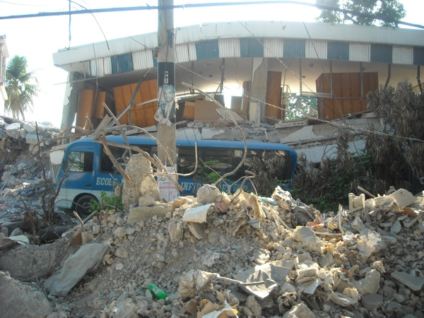 Bus and rubble from Haiti earthquake