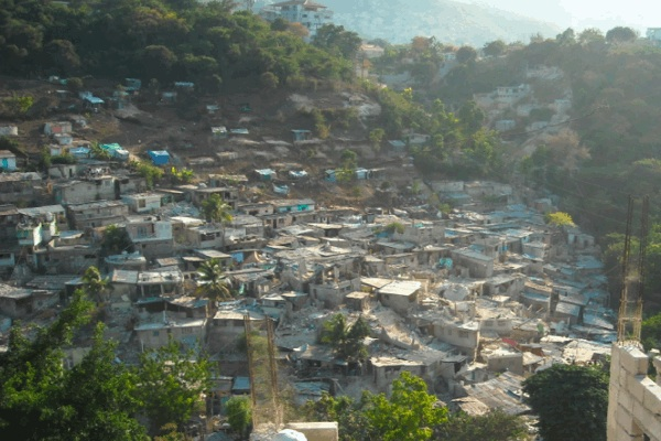 Homes destroyed in Haiti earthquake.