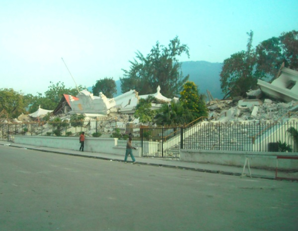 The collapsed Ministry of Justice building in Port-au-Prince
