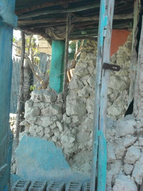 Inside a damaged home above Port-au-Prince Haiti