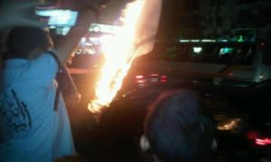 Egypt protester burning flag crucified opponents