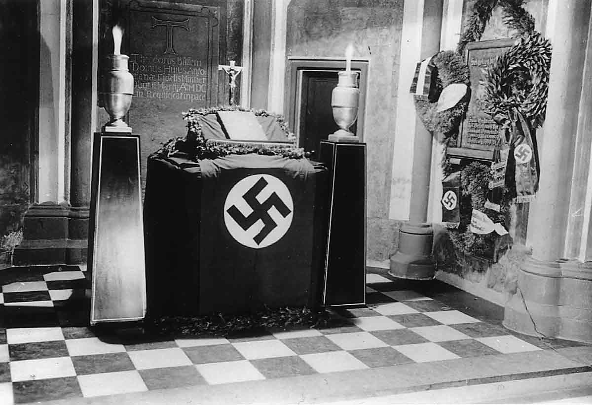 Nazi flag Protestant altar