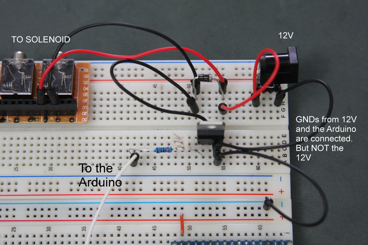 hight resolution of solenoid circuit on breadboard