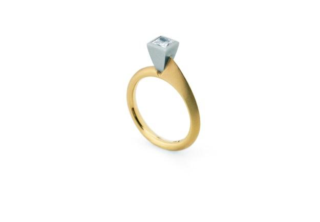 Asymmetric Square Diamond Ring