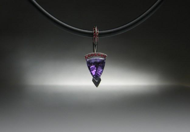 'Arrow' Palladium Amethyst Pendant