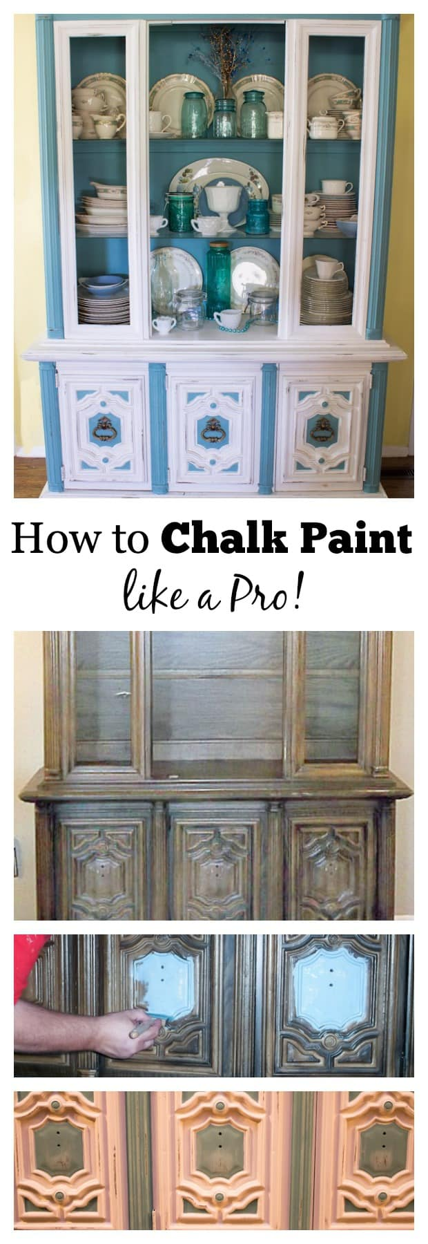Turns out, chalk paint ideas extend far beyond the world of shabby chic décor and upcycled furniture. Annie Sloan Chalk Paint Tutorial 70 S China Hutch Makeover