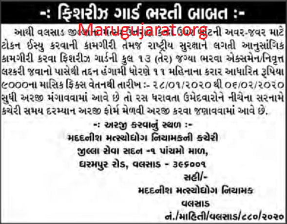 Commissioner of Fisheries, Valsad Recruitment For
