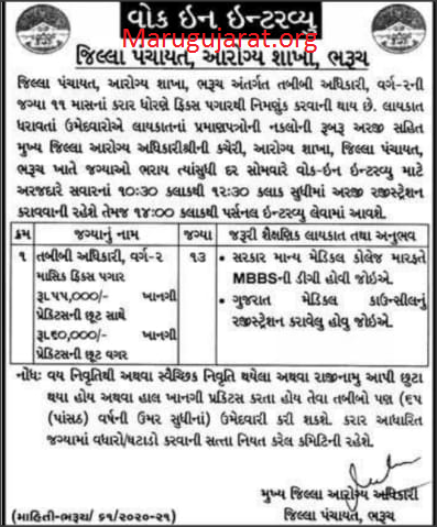District Panchayat, Bharuch Recruitment For Medical