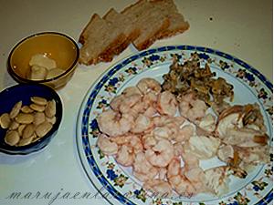 Ingredientes de las patatas en ajopollo