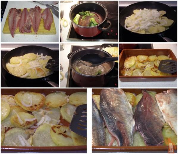 Preparación chicharro al horno con patatas