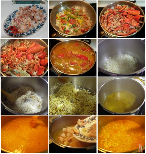 Paso a paso del arroz caldoso con bogavante