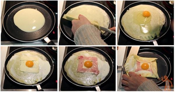 Paso a paso para hacer Crêpes de huevo, jamón cocido y queso semicurado