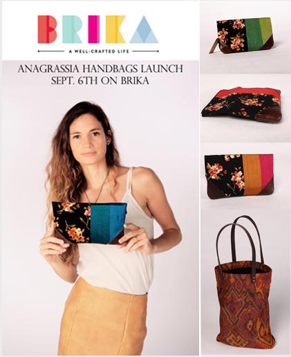 Brika Launch Anagrassia Leather and Silk Handbags Handmade in America