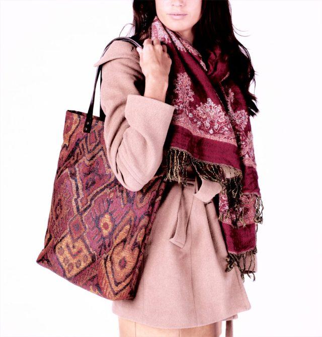 Canvas tote bag Brika Genuine Leather Handles Aztec print fabric Kilim