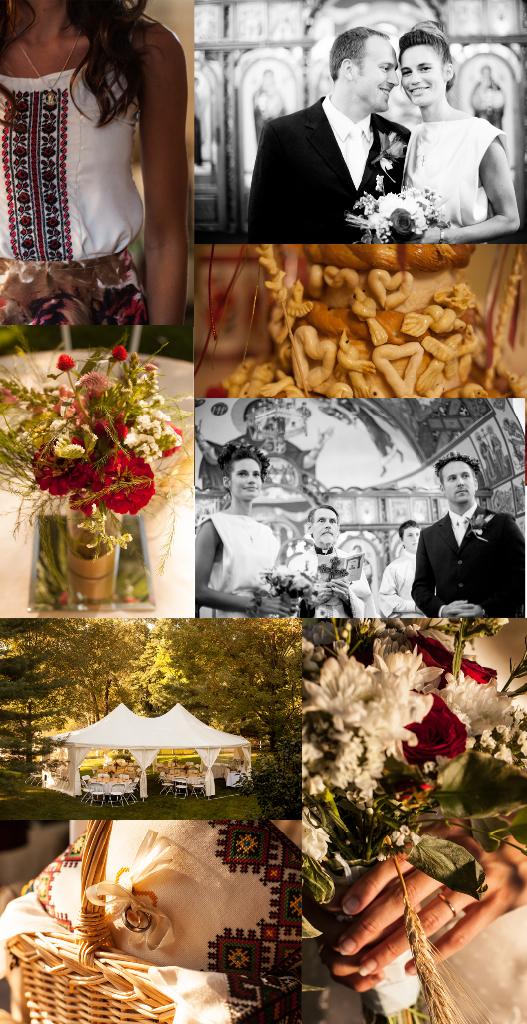 August Wedding, Ivory Silk and lace Custom made wedding gown, Marusya, Ukrainian Chapel, St. Michael's MIshawaka Indiana, poppies