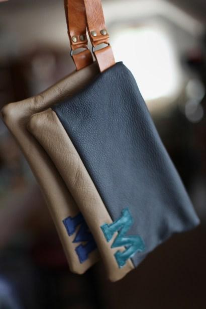 michigan block m wristlet genuine leather purse anagrassia marusya
