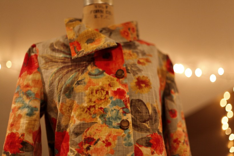 Colorful, Floral, Cotton, Jacket, trench coat, marusya, anagrassia, sewing blog, genuine leather cuffs