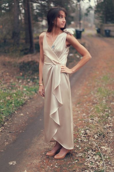 Burdastyle 157 05 2011 silk wool 5 champagne 2 long dress crossover