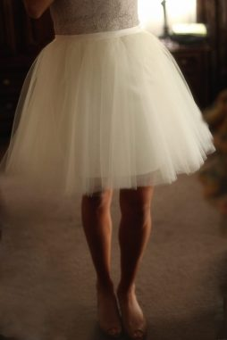 Adult Ivory white satin tulle skirt for bridal wedding