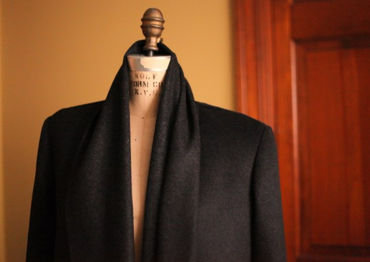 Charcoal 15 Wool and navy leather 1 2011 126 Burdastyle sewing pattern coat
