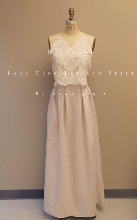 crop, top, lace, alencon, lyocell, tencel, pleated, skirt, malanka, bridal, wedding, dress, formal, white, ivory, metallic, sewing, handmade, custom, bodysuit, long